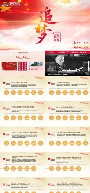 紅黃改革開放四十一年成果匯報模板(精美動畫切換效果)