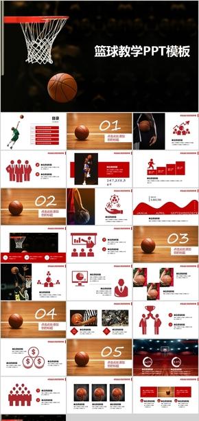 红色篮球主题篮球教学PPT模板