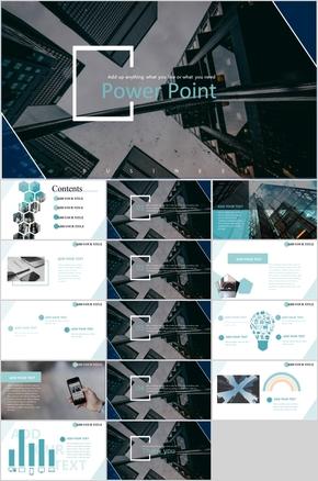 蓝色时尚杂志风商务公司报告通用PPT模板