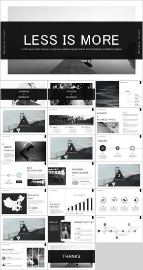黑白素雅简约时尚杂志风PPT模板