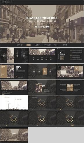 黑色时尚欧美网页风PPT模板