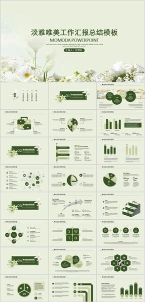 绿色淡雅唯美优雅花朵工作总结教学课件PPT动画模板
