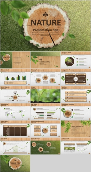 绿色清新自然草地PPT通用模板