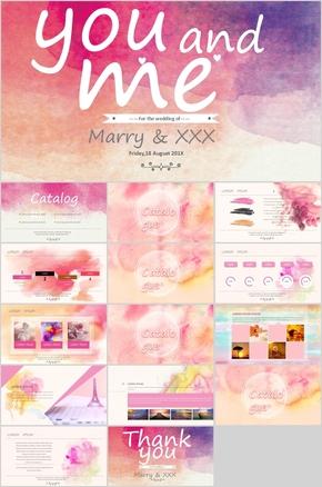 粉色艺术水彩婚礼