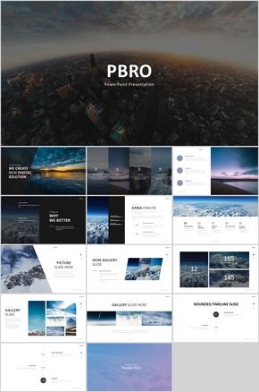 蓝色时尚大图杂志风PPT商务通用模板