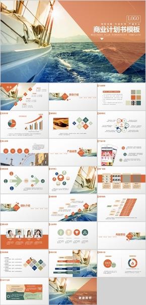 橙色实用精品商业计划书PPT模板