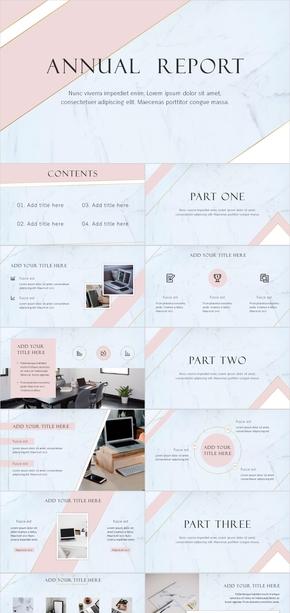 粉色大理石简约清新商务计划总结模板
