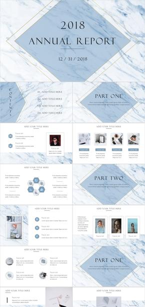 蓝色大理石简约清新商务计划总结模板
