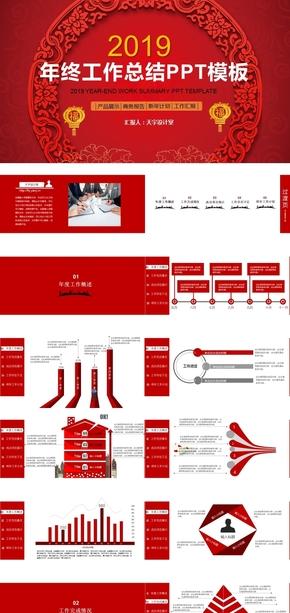 喜庆红色产品展示年终终结商务报告新年计划PPT模板