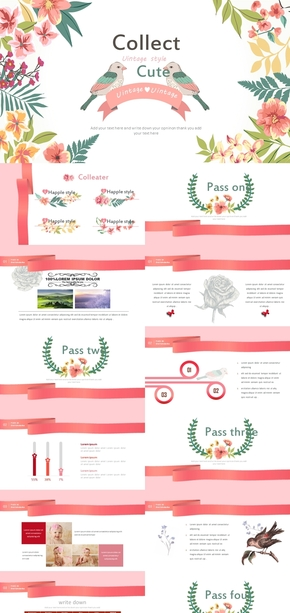 粉红色爱情鸟工作总结个人日志PPT通用模板