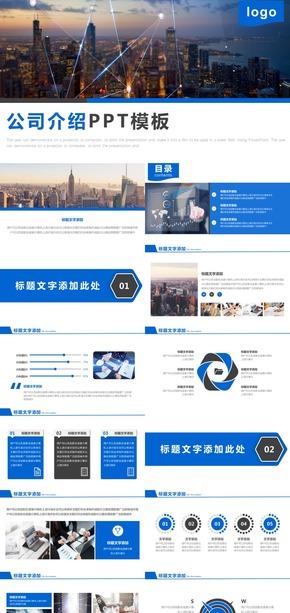 蓝色大气简介公司介绍制度PPT模板