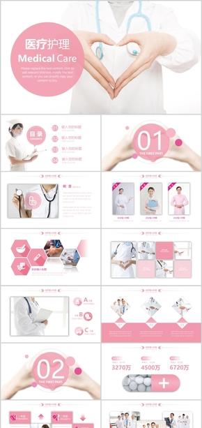 【高端】医疗保健美容护士粉色风格PPT模板