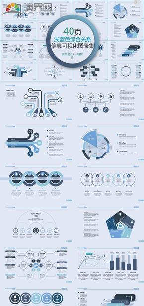 浅蓝色综合关系信息可视化PPT图表集