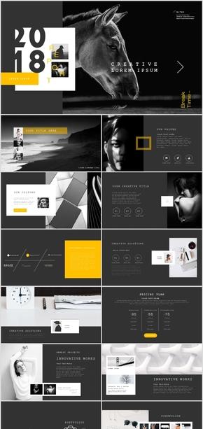 黑色欧美时尚高端企业融资PPT模板源文件下载