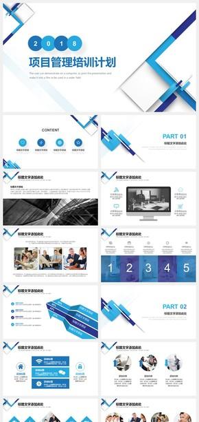 蓝色简约商务项目管理培训计划PPT模板