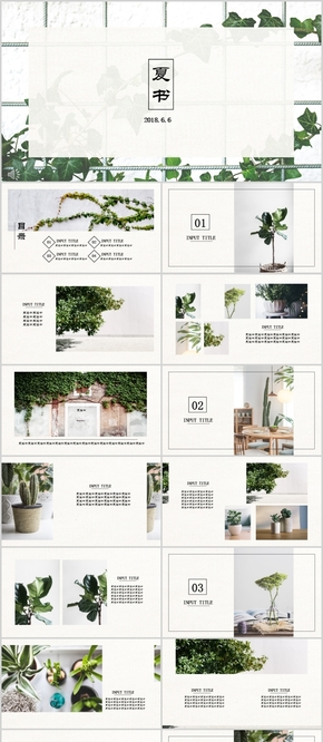 【夏书】中文日式小清新图文混排简约模板