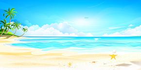 夏天清新沙滩设计背景图