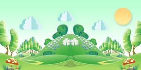 卡通扁平化绿色风景背景图