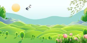 卡通扁平化绿色风景背景