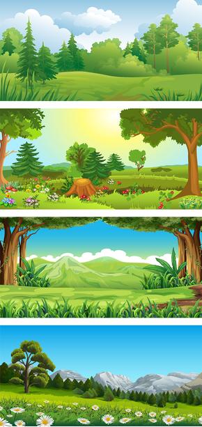 卡通手绘森林素材大神级