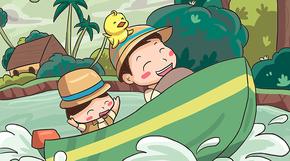 卡通暑期儿童夏令营招生宣传手绘插画