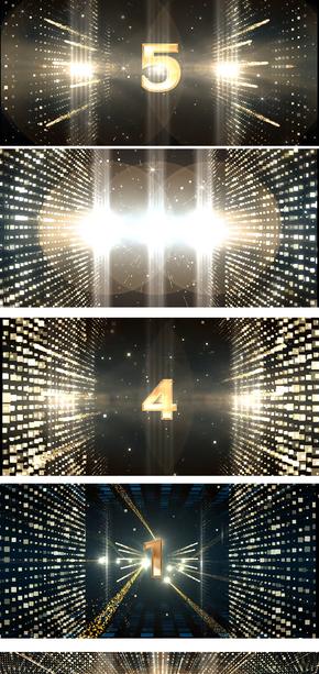 大气颁奖金色数字5秒倒数计时视频