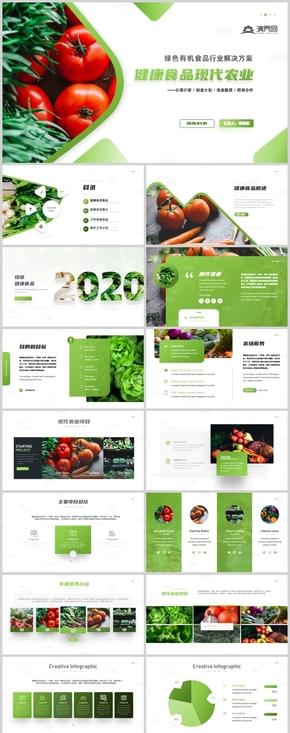 简约绿色现在农业招商宣传方案健康食品安全画册PPT模板