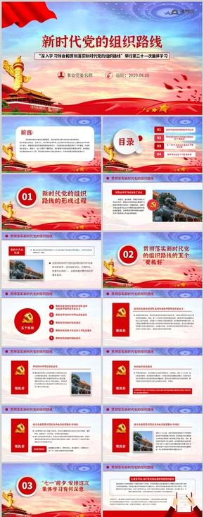 紅色黨政貫徹落實新時代黨的組織路線微黨課PPT模板
