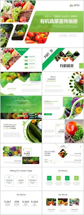 高端绿色有机蔬菜有机蔬果健康生活PPT模板