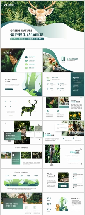 简约绿色保护野生动物解决公益宣传绿色环保画册PPT模板