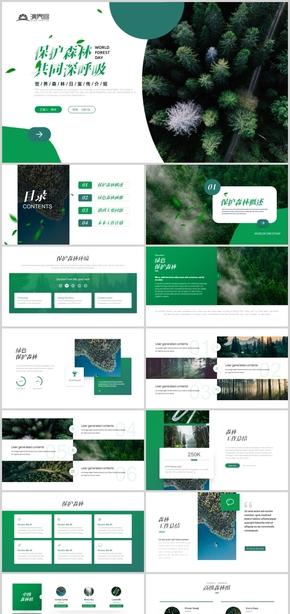 绿色时尚大气保护森林解决方案环保画册PPT模板
