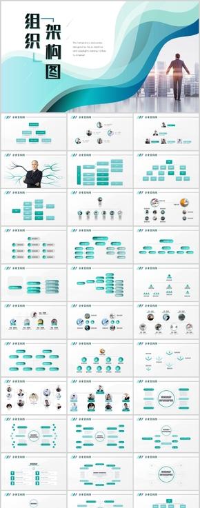 【139P】高端组织架构图PPT企业人事架构分布流程图PPT