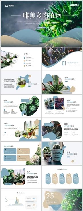 唯美时尚风多肉植物宣传画册种植产业商业方案PPT模板