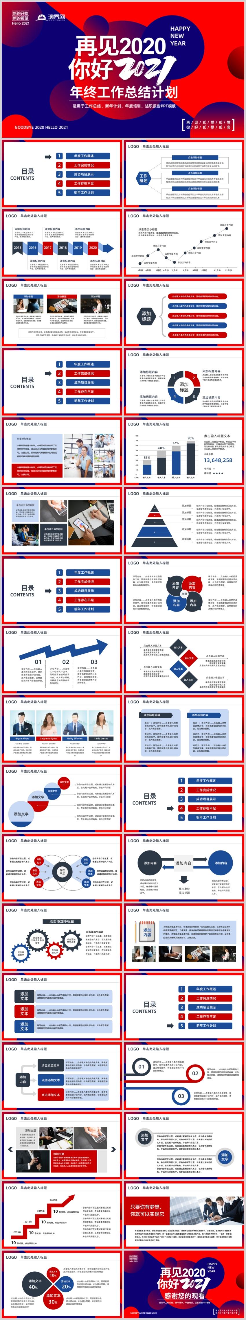 时尚创意红蓝风格年终总结述职报告PPT模板