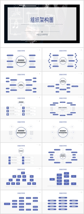 【122P】高端组织架构图PPT企业人事架构分布流程图PPT