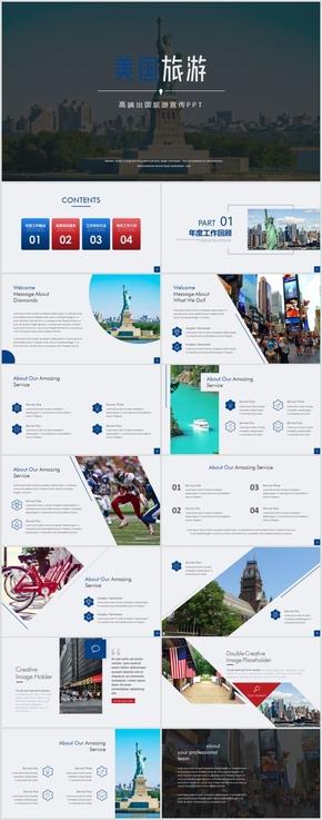 高端美国纽约出国旅游介绍PPT模板
