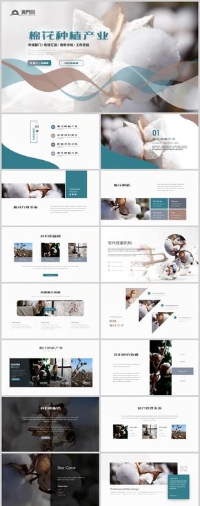 简约大气棉花种植产业宣传画册企业产品介绍PPT模板