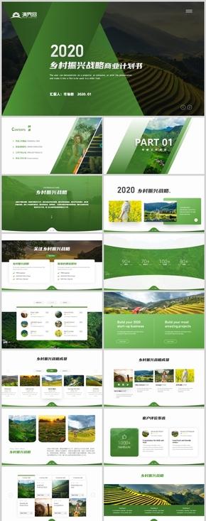简约绿色乡村振兴战略解决方案书新农村旅游PPT模板