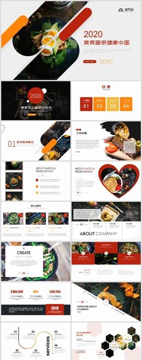 创意杂志风美食商业计划书餐饮招商产品介绍PPT