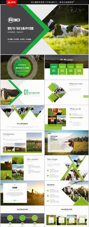 生态草原畜牧业奶牛养殖乳业PPT模板