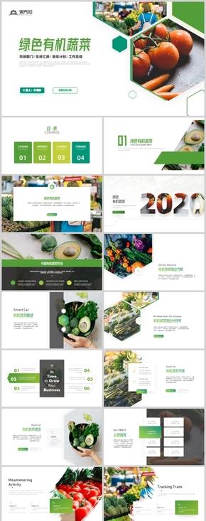 绿色简约风有机蔬菜宣传画册营养艺术推广PPT模板