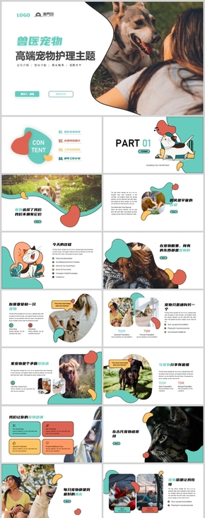 簡約時尚獸醫(yi)工作總結可愛寵物宣傳畫冊PPT模板
