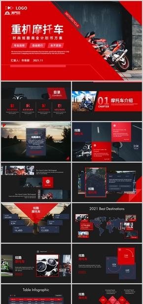 时尚炫酷动感重机车摩托车商业计划书品牌营销画册PPT模板