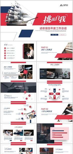 紅色簡約創意述職報告工作總結匯報PPT模板