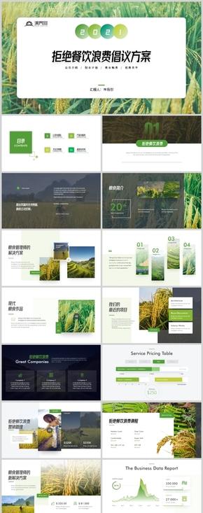 绿色大气拒绝餐饮浪费珍惜粮食宣传画册公益推广PPT模板