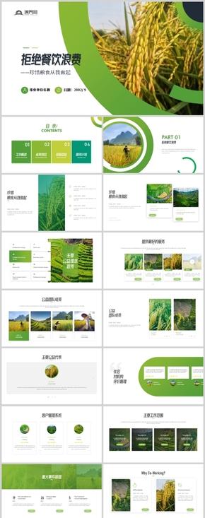 绿色大气珍惜粮食从我做起勤俭节约美德宣传画册PPT模板