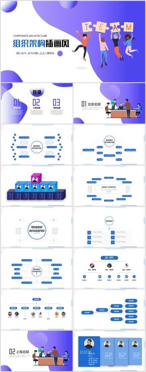 插画风格时间轴组织架构企业发展历程公司简介ppt模板