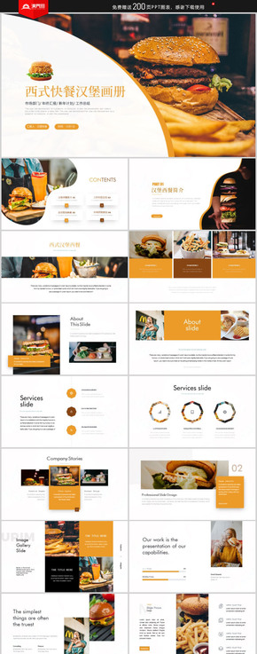 西式快餐漢堡產品介紹餐飲招商計劃書PPT模板