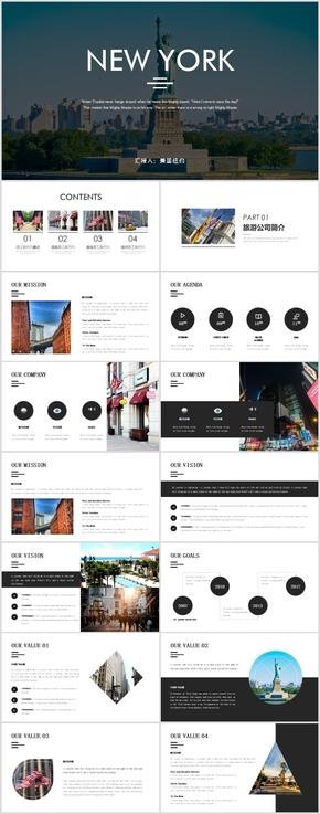美国纽约出国旅游介绍PPT模板