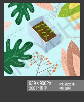 植物插画 高清绿植psd png素材